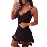Price Comparison For Zanzea Fashion Women S*xy Bandage Bodycon Lace Evening Party Cocktail Short Spaghetti Strap Mesh Hem Lace Mini Dress Black S 3Xl Intl
