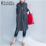 Sale Zanzea Fashion Women Stripe Long Sleeve Long Shirt Blouse New Autumn Loose Casual Tops Blusas Dresses Vestidos Plus Size Intl China Cheap