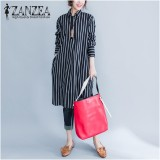 Sale Zanzea Fashion Women Stripe Long Sleeve Long Shirt Blouse New Autumn Loose Casual Tops Blusas Dresses Vestidos Plus Size Intl Online On China