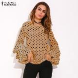 Cheaper Zanzea Fashion Women S Bell Sleeve Loose Polka Dot Shirt Ladies Casual Blouse Tops Plus Size (Khaki) Intl