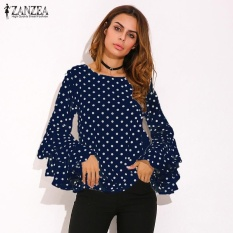 Zanzea Fashion Women S Bell Sleeve Loose Polka Dot Shirt Ladies Casual Blouse Tops Plus Size (Blue) Intl Shop