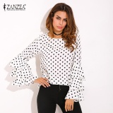 Shop For Zanzea Fashion Women S Bell Sleeve Loose Polka Dot Shirt Ladies Casual Blouse Tops Plus Size (White) Intl