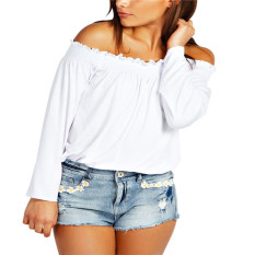 Review Zanzea Femininas New 2016 Spring Autumn S*xy Womens Blouses Ladies Solid Shirred Off Shoulder Tops Casual Blouse Shirts Off White Intl Zanzea On China