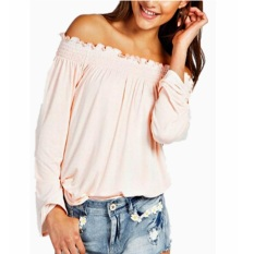 Zanzea Femininas New 2016 Spring Autumn S*xy Womens Blouses Ladies Solid Shirred Off Shoulder Tops Casual Blouse Shirts Pink Intl Price