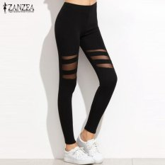 Zanzea High Waist Leggings Casual Leggings Women Fitness Color Block Mesh Workout Insert Leggings Plus Size Black Pants Intl Price Comparison