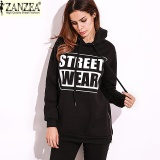 Zanzea Hot Sale Autumn Women Warm Letter Printed Casual Fashion Fleece Zipper Baggy Hoodies Pullovers Hoody Sweatshirts Black Intl On Line