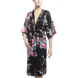 Buy Zanzea Kimono Japanese Long Peacock Robe Satin Night Dress Gown Lingerie Black On Singapore