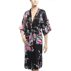 Buying Zanzea Kimono Japanese Long Peacock Robe Satin Night Dress Gown Lingerie Black