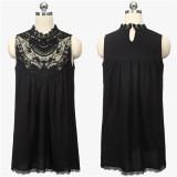 Cheapest Zanzea Lace Crochet Chiffon Mini Dress Black Online