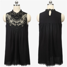 Top Rated Zanzea Lace Crochet Chiffon Mini Dress Black