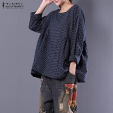 Buy Zanzea Long Sleeve Crew Neck Plaid Pullover Shirt Autumn Ladies Cotton Linen Leisure Tartan Black Blue Blouse Oversized Top Blue Intl Cheap On China