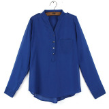 Best Zanzea New Womens Chiffon Casual Loose Shirt Lady Long Sleeve Tops Blouse Tee Blue Intl