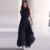 Discount Zanzea Newest Women Summer Dress 2016 Lady Fashion Polka Dot Print Dress Flounce Stand Collar Sleeveless Casual Chiffon Vestidos Navy Intl Singapore