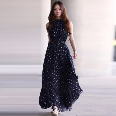 Discount Zanzea Newest Women Summer Dress 2016 Lady Fashion Polka Dot Print Dress Flounce Stand Collar Sleeveless Casual Chiffon Vestidos Navy Intl