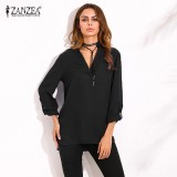 Purchase Zanzea Oversized 2018 Spring Autumn Women Blouses Elegant S*xy V Neck Long Roll Up Sleeve Casual Loose Solid Blusas Shirts Plus Size Black Intl Online