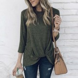 Cheap Zanzea Pleated Knot Tops Women Autumn Winter Pullover Solid 3 4 Sleeve Blouses Army Green Intl Online