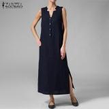 Price Zanzea Sleeveless V Neck Long Dress Side Split Front Button Stylish Kaftan Navy Blue Intl Zanzea Original