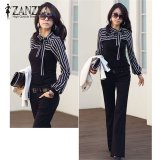 Promo Zanzea Spring Autumn Blusas Women Vintage Striped Tops Long Sleeve O Neck Slim Bowknot T Shirts Plus Size S 4Xl Black Intl