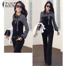 Zanzea Spring Autumn Blusas Women Vintage Striped Tops Long Sleeve O Neck Slim Bowknot T Shirts Plus Size S 4Xl Black Intl Reviews