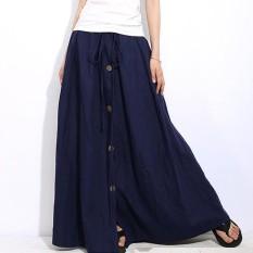 Sale Zanzea Spring Fashion Women Solid Drawstring Elastic High Waist Buttons Down Jupe Lady Office Work Maxi Long Skirt S 3Xl Navy Intl Zanzea Online