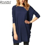 Buying Zanzea Stylish Womens Batwing Sleeve Oversize Blouse Tops Casual Loose Long T Shirt Navy Blue Intl