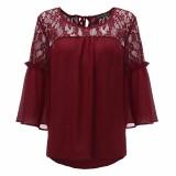 Cheapest Zanzea Summer 2016 Fashion Women Chiffon Patchwork Lace Floral Crochet Shirt O Neck Casual Loose Tops Blusas Femininas Plus Size