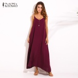 Zanzea Summer Style Women Boho Strapless V Neck Sleeveless Dress Casual Loose Long Maxi Solid Dress Vestidos Plus Size Claret Intl On China