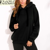 Zanzea Trendy Women Casual Hoodies Sweatshirts Hoody Pullover Leisure 2017 Autumn Long Sleeve Hem Split Solid Outwear Tops Plus Size Black Intl Lowest Price