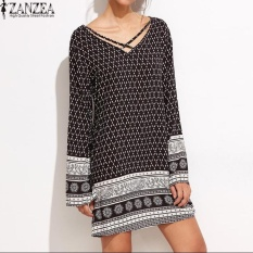 ZANZEA V-Neck Long Sleeve Womens Floral Print Casual Summer Beach Loose Vintage Straight Mini