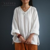Shop For Zanzea Vintage Blusas V Neck Long Sleeve Retro Plate Button Pullover 2017 Lady Autumn Fashion Cotton Linen Chinese Style Blouse Off White Intl