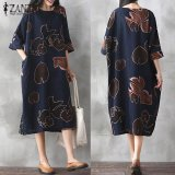 Zanzea Vintage Womens Floral Printed Half Sleeve Cotton Linen Casual Party Dress Baggy Kaftan Vestidos Plus Size Navy Intl Deal