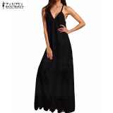 Sales Price Zanzea Women 2016 Summer Lace Beach Long Dress S*xy Deep V Neck Strapless Backless Split Sleeveless Ankle Length Dress Plus Size Black