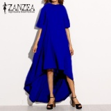 Review Zanzea Women Autumn O Neck Short Sleeve Asymmetrical Hem Summer Casual Loose Party Solid Long Dress Plus Size Blue Intl Zanzea