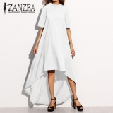 Great Deal Zanzea Women Autumn O Neck Short Sleeve Asymmetrical Hem Summer Casual Loose Party Solid Long Dress Plus Size Off White Intl