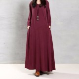 Review Zanzea Women Autumn Retro Dress 2016 Lady O Neck Long Sleeve Pockets Buttons Decoration Solid Cotton Maxi Long Elegant Vestidos Intl On China