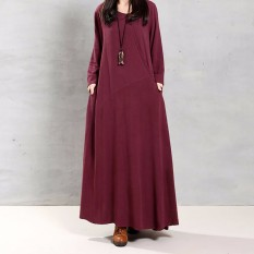 Where Can I Buy Zanzea Women Autumn Retro Dress 2016 Lady O Neck Long Sleeve Pockets Buttons Decoration Solid Cotton Maxi Long Elegant Vestidos Intl