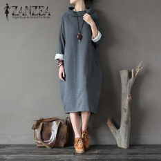 Sale Zanzea Women Casual Loose Long Sleeve Turtleneck Side Pockets Solid Sweatshirt Dress Dark Grey Intl Zanzea