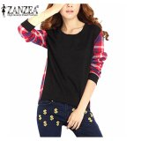Zanzea Women Check Plaid Blusas Pullovers Casual Long Sleeve Tops Casual Irregular Hoodies Sweatshirts S 5Xl Black Intl On China