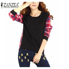 Best Zanzea Women Check Plaid Blusas Pullovers Casual Long Sleeve Tops Casual Irregular Hoodies Sweatshirts S 5Xl Black Intl