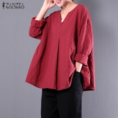 How To Get Zanzea Women Check Plaid Cotton Linen Casual Baggy Party Blouse Autumn V Neck Long Sleeve Loose Shirt Top Blusas Oversized Red Intl