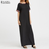 Zanzea Women Crew Neck Embroidery Long Maxi Shirt Dress Summer Short Sleeve Casual Loose Kaftan Vestido Plus Size S 5Xl Black Intl Deal