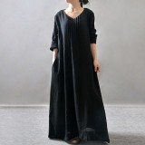 Brand New Zanzea Women Elegant Dress 2016 Lady V Neck Long Sleeve Pockets Shirt Dress Casual Pleated Solid Loose Retro Maxi Long Vestidos
