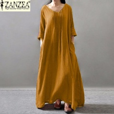 Zanzea Women Elegant Muslim Dress Fall Linen Long Sleeve Casual Pleated Loose Retro Maxi Long Tunic Dress Yellow Intl Cheap