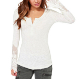 Coupon Zanzea Women Embroidery Lace Top Button V Neck Long Tee Shirt Blouse White
