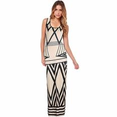Price Comparisons For Zanzea Women Geometric Print Summer Long Maxi Dress 2017 New Brand Casual Sleeveless Bodycon Party Dresses Vestidos White Plus Size