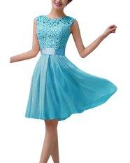 Cheap Zanzea Women Lace Sleeveless Party Mini Dress Princess Wedding Formal Cocktail Blue Export