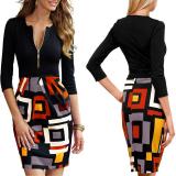 Discount Zanzea Women Ol Style 3 4 Sleeve Zipper Slim Fit Party Evening Midi Dress Zanzea On China