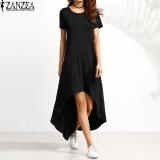 Price Comparisons For Zanzea Women Oversized Crew Neck Casual Loose Asymmetrical Kaftan Summer Short Sleeve O Neck Long Shirt Dress Vestido Robe Black Intl
