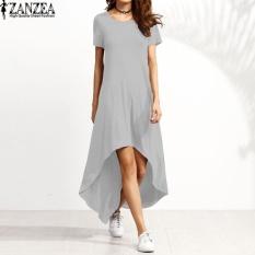 Review Zanzea Women Oversized Crew Neck Casual Loose Asymmetrical Kaftan Summer Short Sleeve O Neck Long Shirt Dress Vestido Robe Grey Intl China