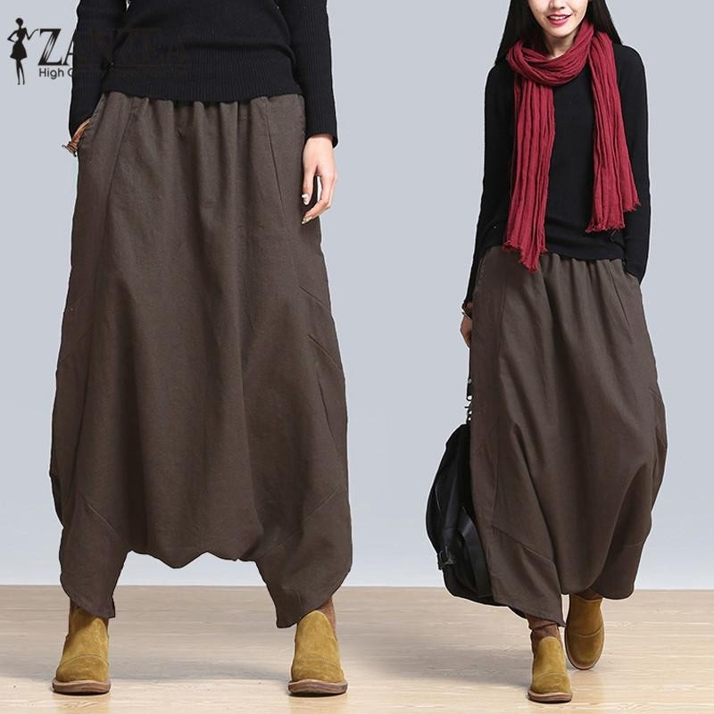 ZANZEA Women Plus Size Harem Baggy Wide Leg Casual Solid Pants Yoga Trousers Oversize (Coffee